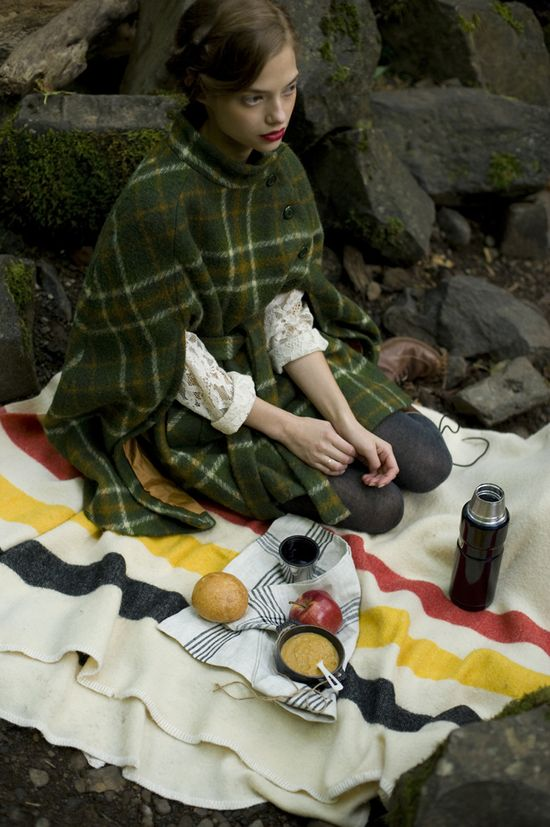 a tartan and wool blanket picnic