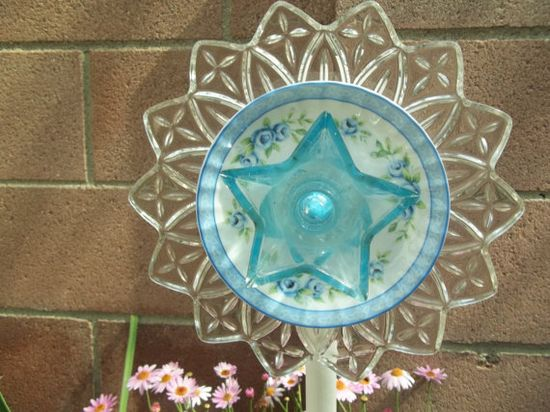 Pretty Glass Art Garden Flower Stake with  by ChristineMsCreations, $22.00