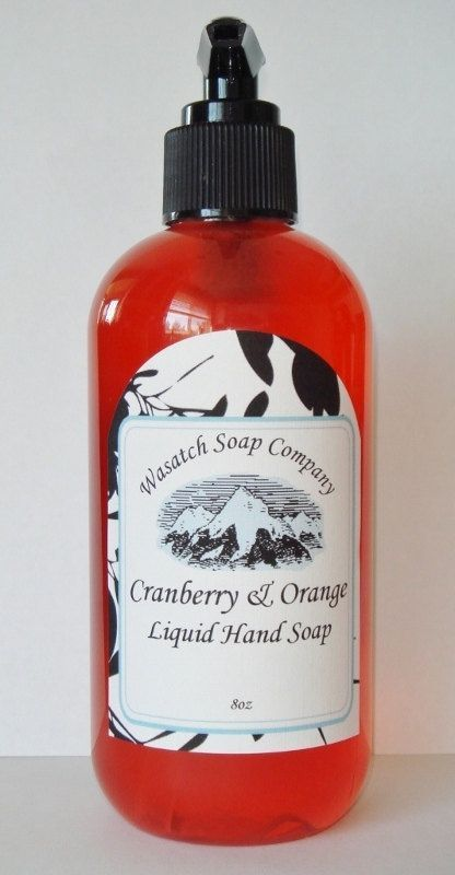 Cranberry & Orange Handmade Liquid Soap - Cranberry & Orange fragrance is a delightful blend of citrus notes of orange, satsuma, yuzu and tangerines; followed by the crisp tartness