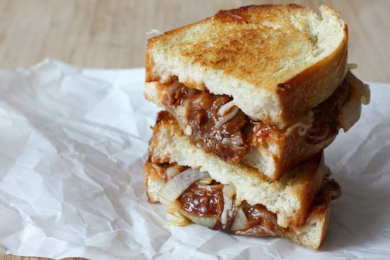 Caramelized Onion and Pulled Pork Grilled Cheese