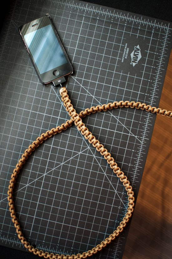 Coyote Brown iPhone Paracord Cable