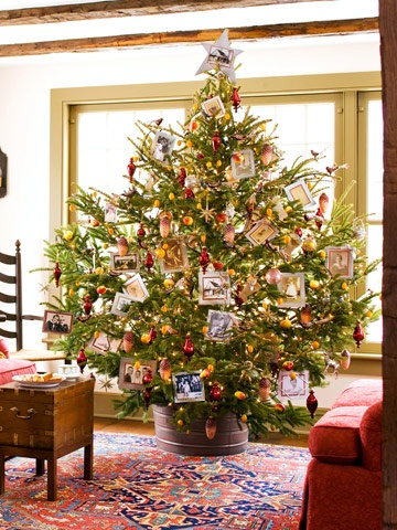 Christmas tree, love the bucket!