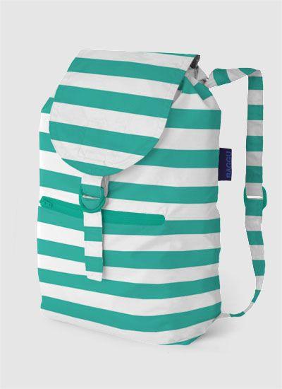Teal, striped backpack.