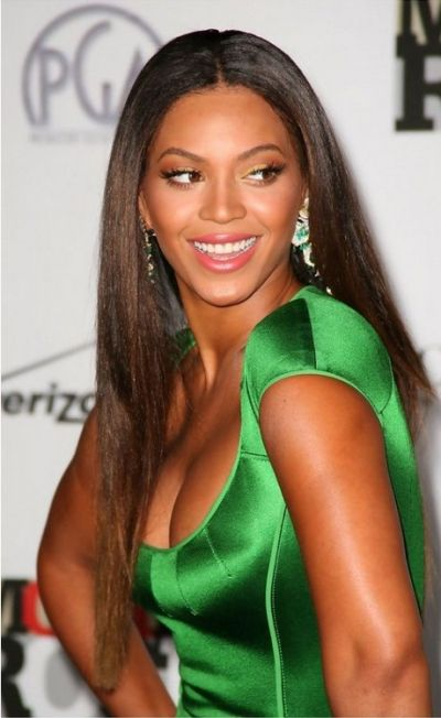 Beyonce Long Straight Hair with a Center Parting