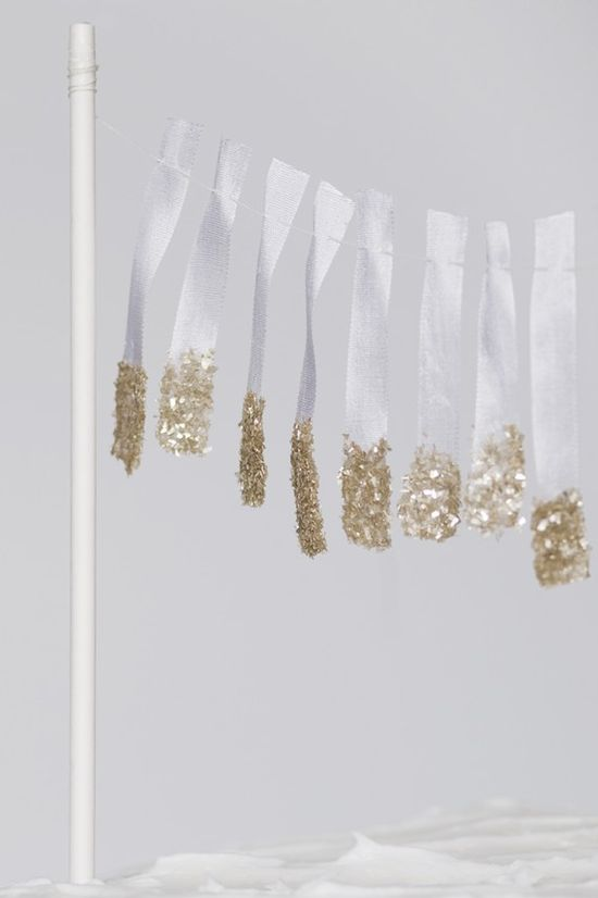 glittered ribbon garland
