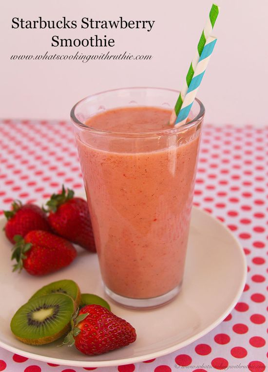 Craving a smoothie for some strange reason...  (Starbucks Strawberry Smoothie - Whats Cooking With Ruthie)
