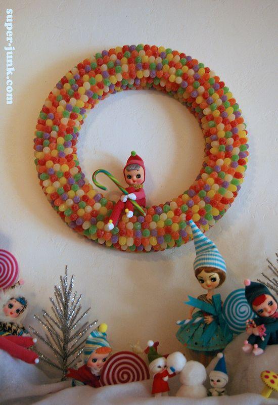Gumdrop wreath #holiday #decorations #diy #craft, via Super*Junk