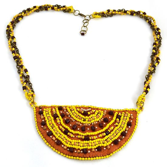 Yellow and Tan Leather Necklace Handmade Jewelry - $49