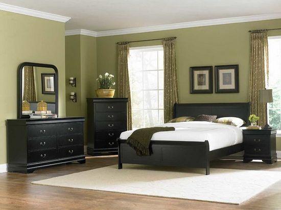 Green Bedroom Design with Dark Bedroom Furniture