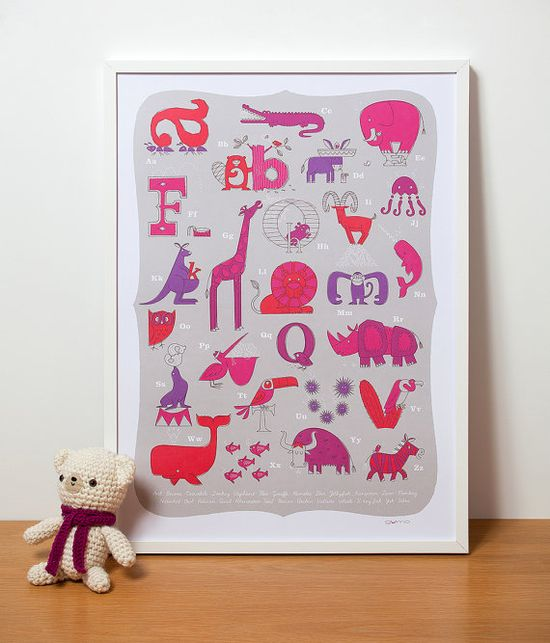 Animal Alphabet  ABC Print  in Pink by gumo
