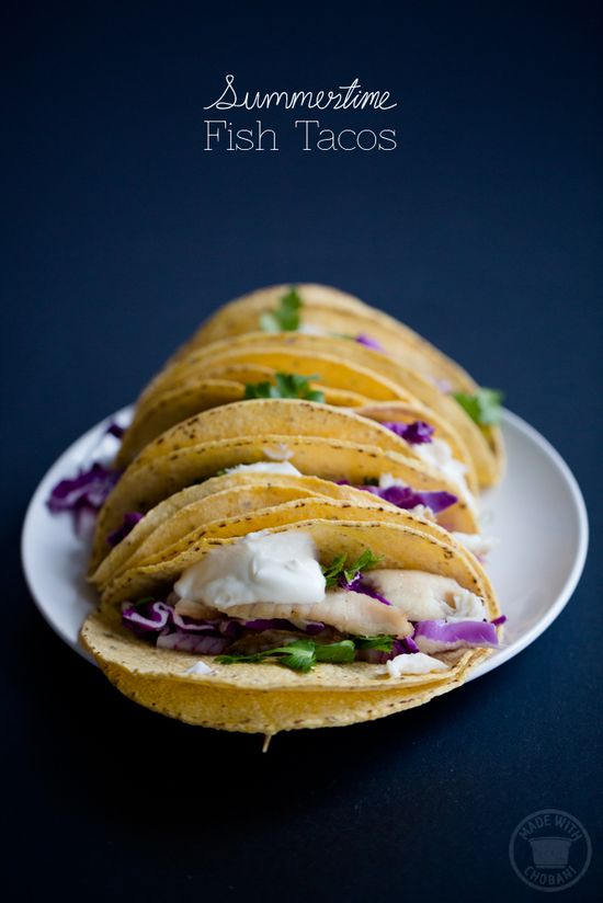 Summertime Fish Tacos topped w/ Chobani Greek Yogurt