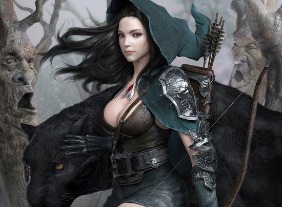 fantasy art 3D renders leopards pale skin black hair archer hood ranger bow and arrow 3d women 3d fantasy art - Wallpaper (#2957871) / Wallbase.cc