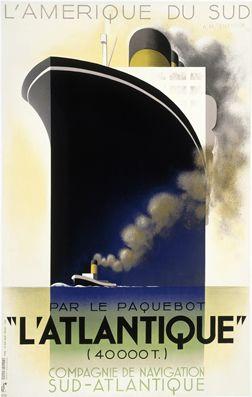 A.M. Cassandre, l'Atlantique, 1931 #vintage #travel #poster