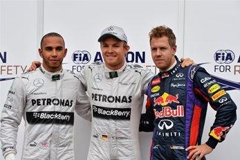 Lewis Hamilton (GBR) Mercedes AMG F1, pole sitter Nico Rosberg (GER) Mercedes AMG F1 and Sebastian Vettel (GER) Red Bull Racing celebrates in parc ferme. Formula One World Championship, Rd6, Monaco Grand Prix, Qualifying Day, Monte-Carlo, Monaco, Saturday, 25 May 2013
