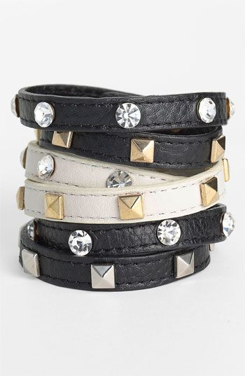Cara Accessories Leather Wrap Bracelet $38 #stackedwrist #Nordstrom