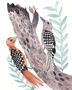 Woodpeckers -Original watercolor painting