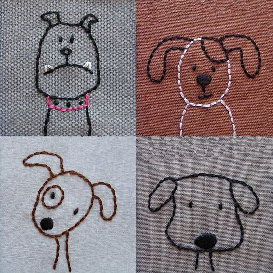 Cute dog embroidery pattern