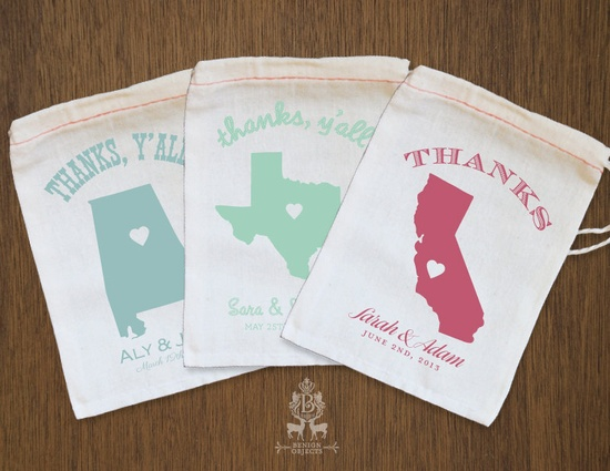 State Love Favor Bags. $3.50, via Etsy.