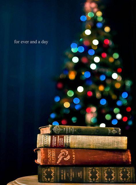 some books and Christmas lights