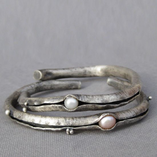 Silver, White Pearls, Cuff, bracelet