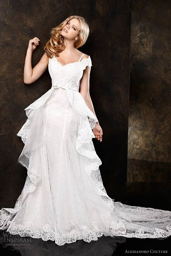 alessandro couture 2013 lace peplum wedding dress