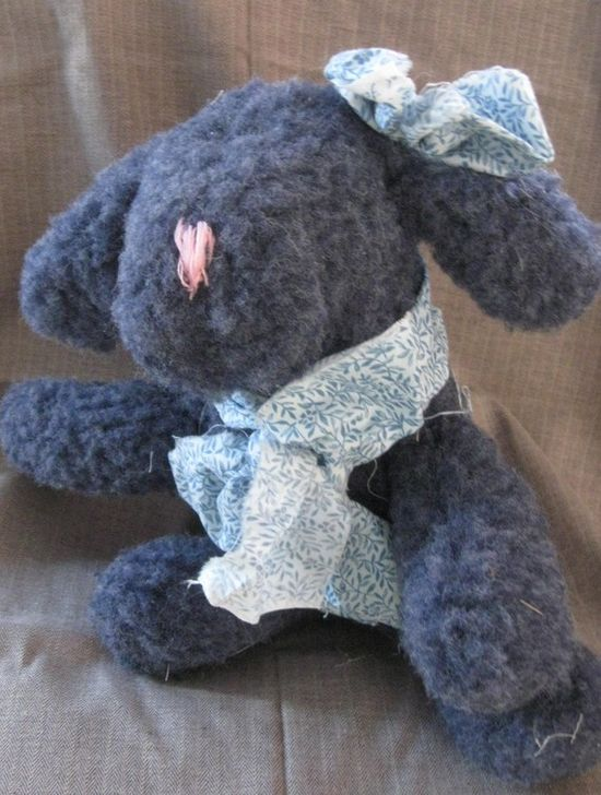 Pinkie Blues a 13 inch stuffed animal dog by Mapleasragclothdolls