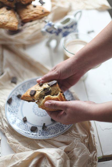 Chocolate malt cream scones.