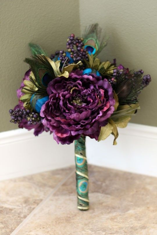 Purple Peacock - Feather Bridal Bouquet