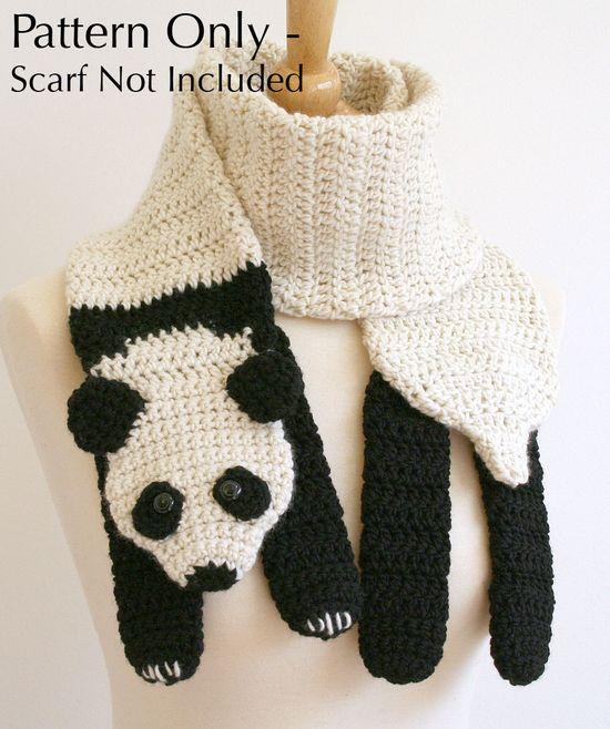 Crochet Pattern for Panda Bear Scarf.
