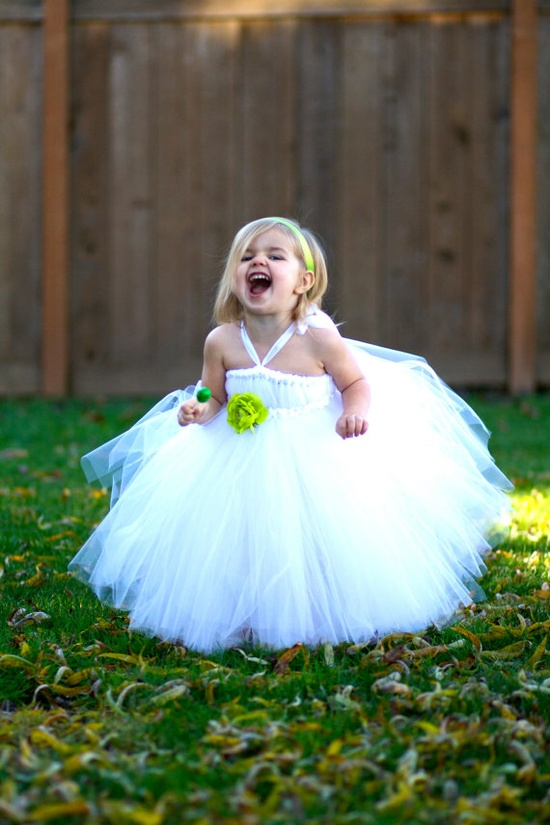 flower girl dress- with cream flower