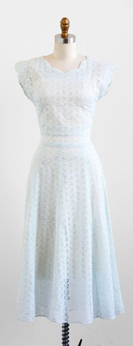 vintage 1940s sheer pale blue organdy eyelet dress.