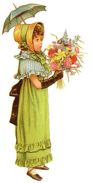 Victorian girl with parasol and bouquet