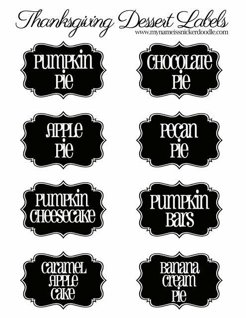 Printable Thanksgiving Dessert Labels