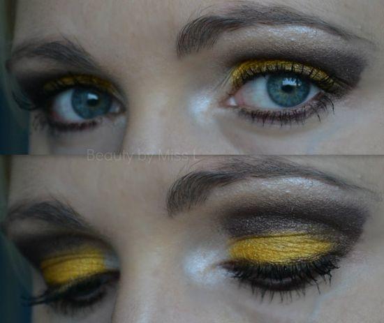 yellow & brown eye makeup