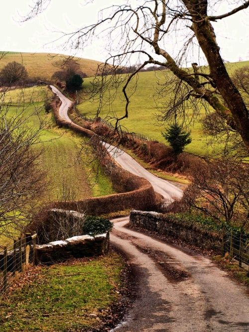 Winding road in the countryside...