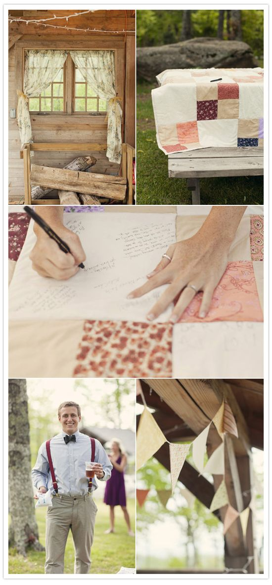 wedding quilt as guestbook