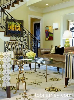 Stripes and patterns.....Living room design by Tobi Fairley