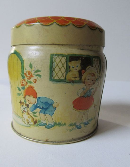 Vintage Toffee Tin with Children Playing by TransferofTreasures, $14.00