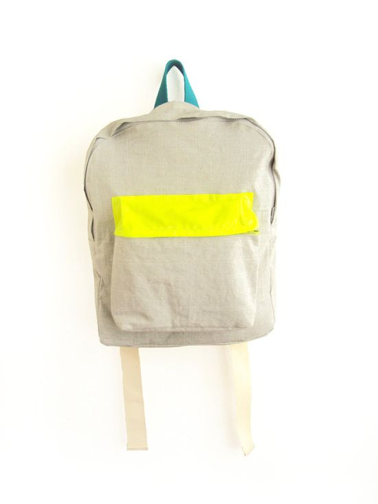 light grey backpack w/ neon yellow pouch ++ ziazia