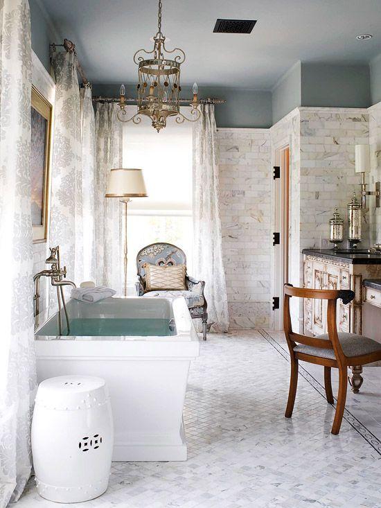 Traditional bath + contemporary tub