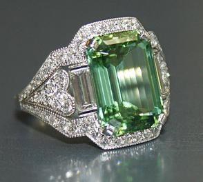 ? Mint tourmaline and diamond ring