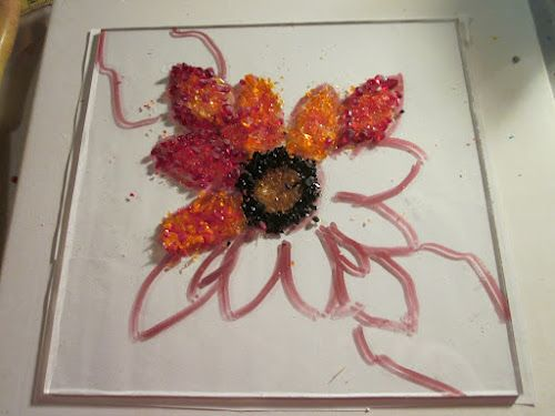 Painting with Frit or put an outline on paper and slide under clear glass.  Add frit on top and remove paper for firing.