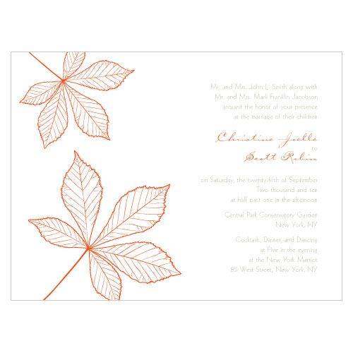 הזמנות לחתונה בשילוב עלי שלכת