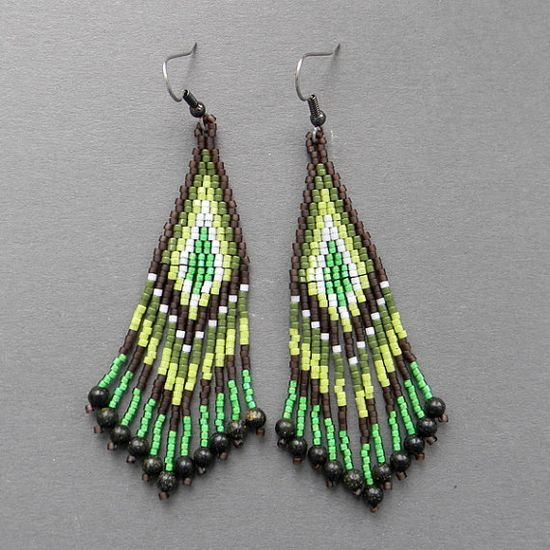 Long Brown and Green Seed Bead Earrings  beaded by Anabel27shop