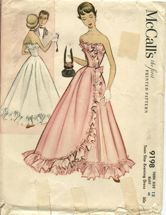 Military Ball. Madison wants to go retro custom.  McCalls 9198 beautiful evening/prom dress pattern, 1952. #vintage #sewing #patterns #1950s