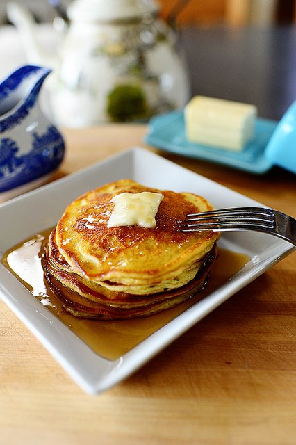 Edna Mae's Sour Cream Pancakes. Nice, light texture and they're low on flour...so they don't leave you with that pancake gut bomb feeling!