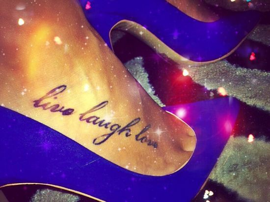 """""""Give a girl the right shoes & she can conquer the world.""""???? #quotes #fashion #heels #livelaughlove #ink #foot #tattoo"""