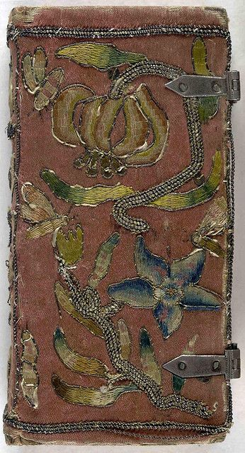 Front cover of 17th century embroidered satin book with two sets of metal clasps by Aria Nadii, via Flickr