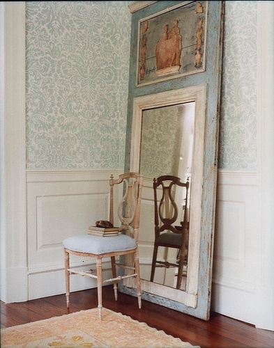 Large Trumeau mirror propped against wall b Fiona Newell Weeks.
