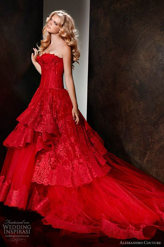 alessandro couture 2013 strapless red wedding dress
